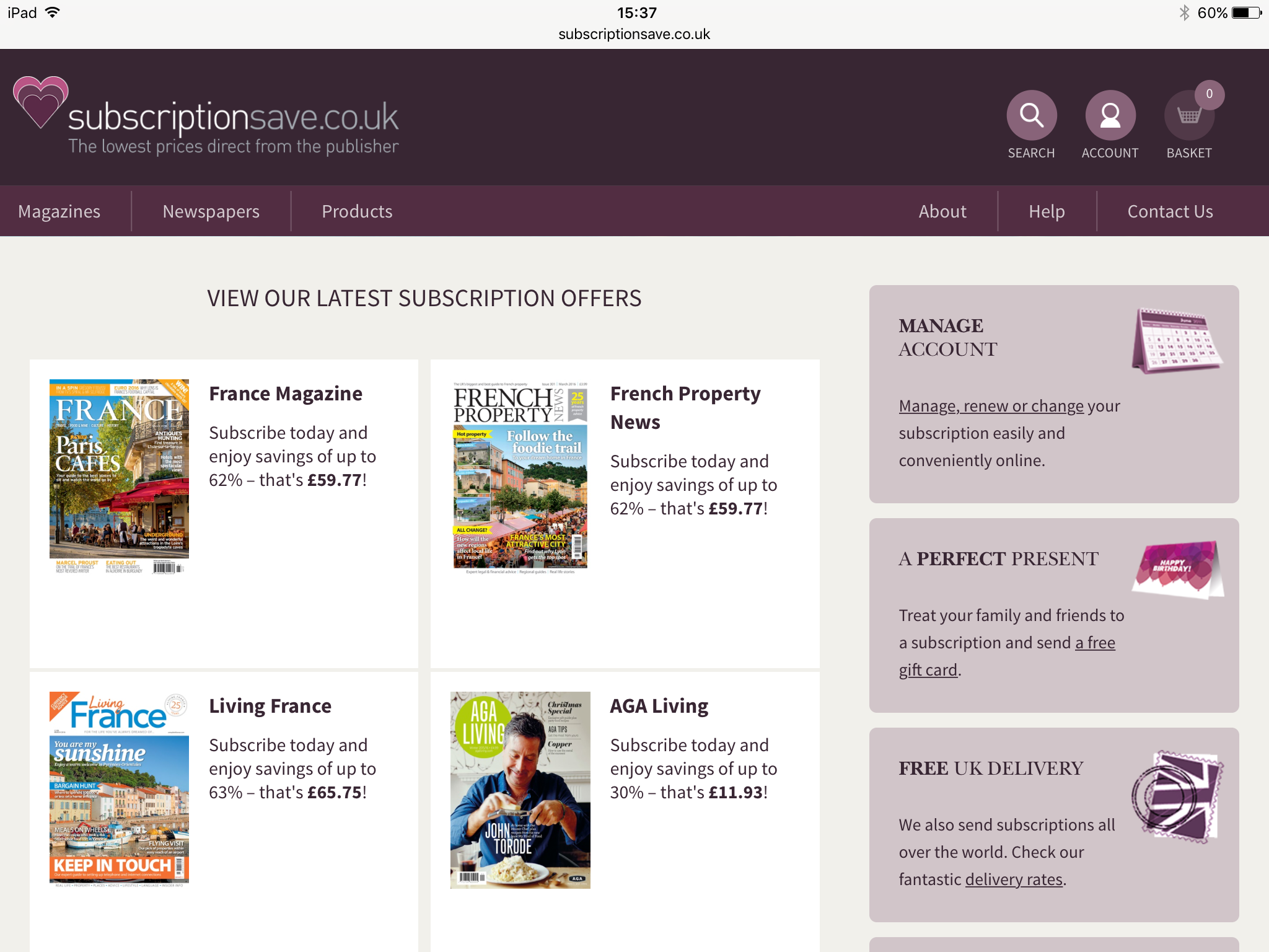 Example work for Archant shown on tablets