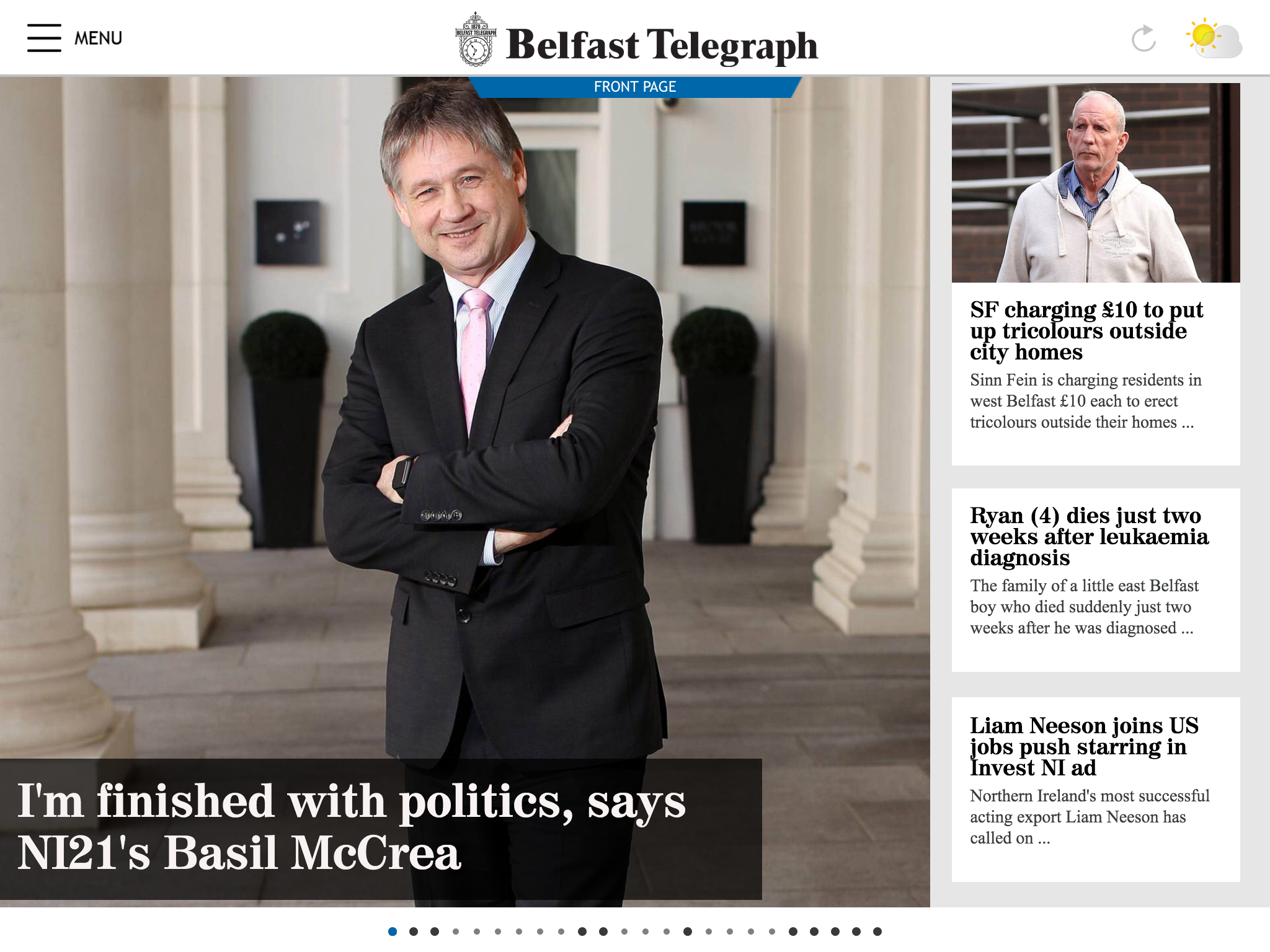 Example work for Belfast Telegraph shown on tablets