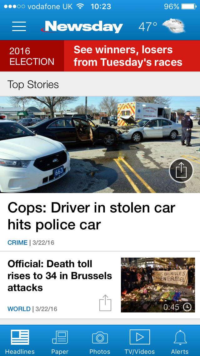 Example work for Newsday shown on phones